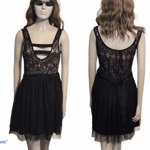 WET SEAL Black Lace Skater Dress